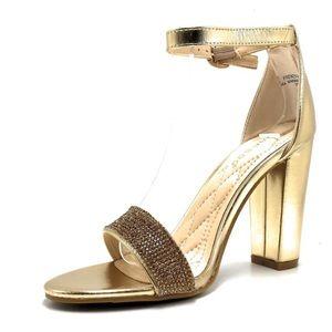 BAMBOO Striking-14S Gold Rhinestone Heels